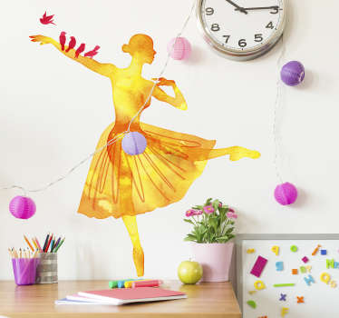 Beautiful orange watercolour design of a dancing silhouette of a ballerina with multiple red birds sat on her arm. This bird wall sticker is perfect for adding some nature and colour to your home decor and combining it with the lovely art of ballet.