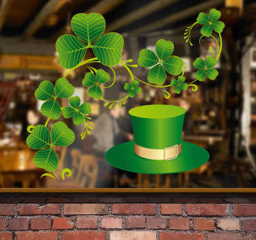 Business Stickers - Saint Patrick´s day with the green hat and clovers. Ideal for retail stores and businesses.
