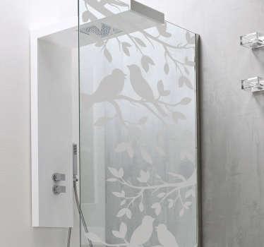 Badkamer sticker vogels op tak douchedeur