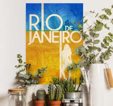 Decore a sua casa com este adesivo de parede colorido com cores azuis e amarelas, com a imagem do fundo do grande Cristo Redentor.
