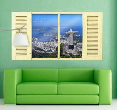 Adesivo casa effetto finestra su Rio de Janeiro
