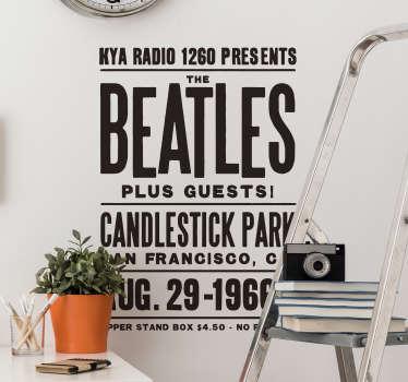 Beatles konsertaffisch vägg klistermärke
