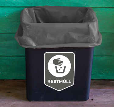 Start recycling and save the planet with this icon vinyl sticker! The sticker shows which type of trash can be recycled here: residual waste!