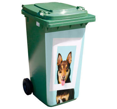 Decorative dustbin recycling container stickerwith the design of a funny dog. It is available in any size you want and it application is easy.