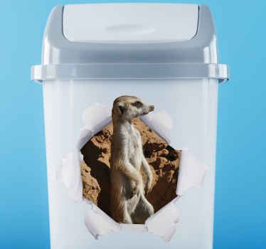 Decorative recycling dustbin container sticker with the design of a Meerkat  breaking out of a paper background. It is available in any size required.
