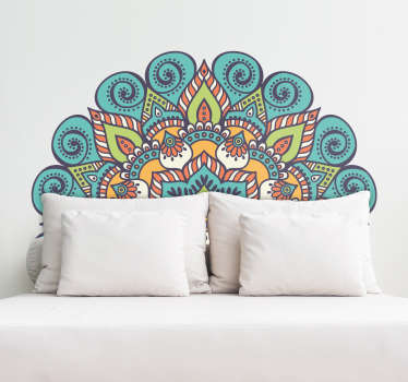 Gorgeous mandala wall sticker to be used as a headboard or behind a sofa. This colourful oriental design is perfect for decorating the bedroom!