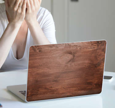 Naklejka na laptopa z motywem drewna