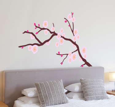 Pembe ağaç duvar çıkartması