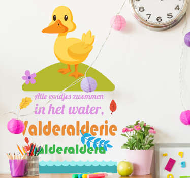 Colorful children bedroom wall sticker with the design of nursery rhyme and duckling. It is available in any size needed and very easy to apply.
