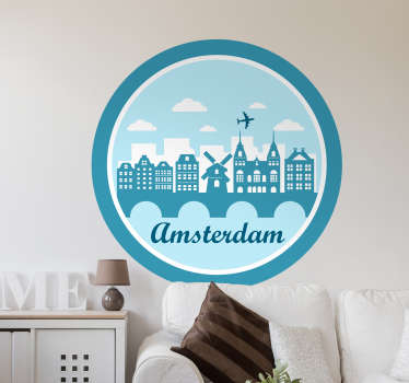 Amsterdam stamp wall sticker designed on a round background with city skyline and Amsterdam text. It is easy to apply and adhesive.