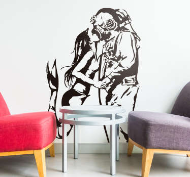 Stunning street art wall sticker of a deep sea diver and a mermaid kissing underwater. Ideal for anywhere in your home! Sign up for 10% off.