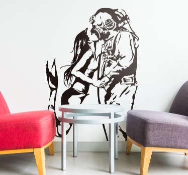 Banksy Wandtattoo Taucher&Meerjungfrau