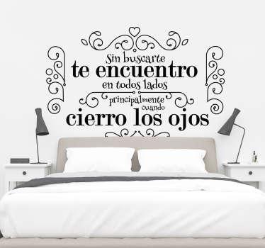 Vinilo frase de amor para dormitorio
