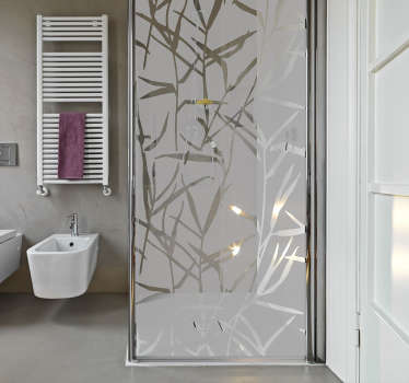 Translucent shower sticker in the pattern of multiple reeds to create a nice atmosphere for your bathroom while providing some privacy in the shower. This sleek modern design is will look great and add that finishing touch to your bathroom decor you've been looking for.
