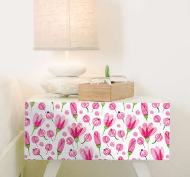 Decorate the Ikea furniture in your home with this decorative sticker full of pink flowers. Bring an energetic and colorful touch in the room with this decoration.