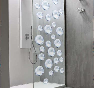 Douchewand sticker bubbels