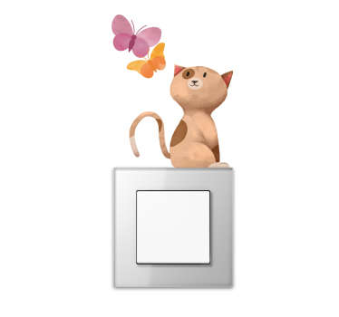 Lichtschakelaar sticker kat en vlinders