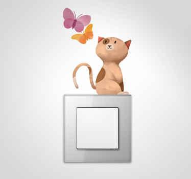 Vinil para interruptor gato e borboletas