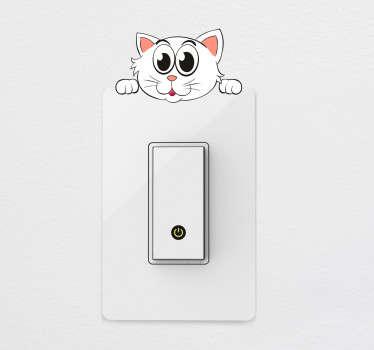 Adesivo interruptor gato branco
