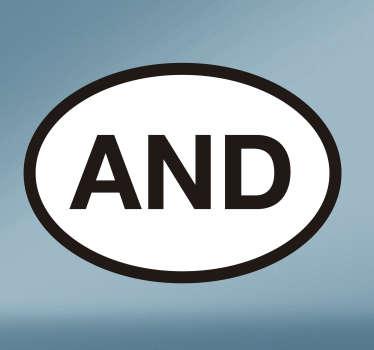 Señaliza claramente que eres ciudadano de Andorra con esta pegatina para coche con las siglas de tu país.