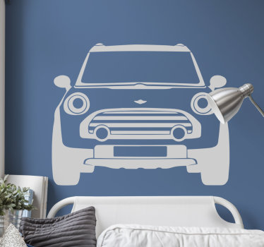 Awesome monochrome car wall sticker of the iconic Mini Cooper. This vehicle wall sticker is applicable to any flat surface.