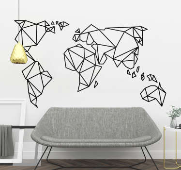 Fantastic origami world map wall sticker design to decorate your bedroom, living room or teen's room and show off your love of travel in a cool way.