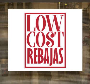 """为商店前窗设计了带有""""低成本销售""""文本的商业销售标签。我们有所需的任何尺寸,并且易于应用。"""