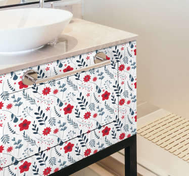 Bring a floral and happy touch to your bathroom with this flower sticker. The adhesive consists of a pattern full of flowers in white red and green colors.