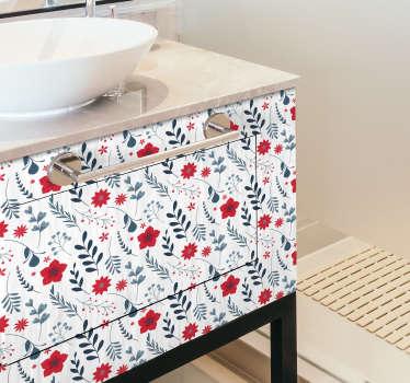 Vinilo para armario de baño estilo floral