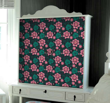 Meubelsticker bloemenpatroon zwart roze