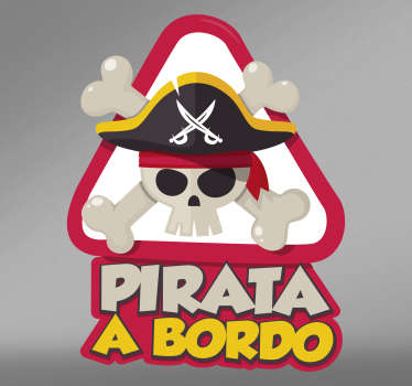 Give your car a new look with this pirate on board sticker. The adhesive is a funny variant of the baby on board sticker.