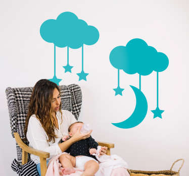 This lovely and elegant wall decal will decorate the walls in the room of the children. The sticker consists of 2 clouds that have multiple stars and 1 moon hanging on them.