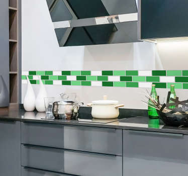 Decorate your kitchen with this green tile sticker This tile sticker has different green colors and white and will give your room a vibrant effect This adhesive is suited for the kitchen or bathroom Decorate all your rooms easily with our decals