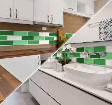 Adesivo de parede azulejos telhas verdes