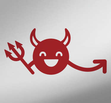 Decorate your car with wthis happy devil adhesive. This car sticker will give your vehicle a little devil touch. The devil on this image is happy and hold a little trident.