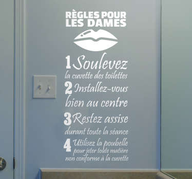 Home text wall sticker design stating rules for ladies in french language. Available in different colours and size options.