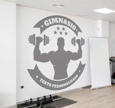 Customizable gyms wall sticker design silhouette of gym training. Buy it in any size required. Easy to apply and adhesive.