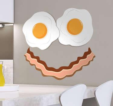 Veggdekal bacon og egg