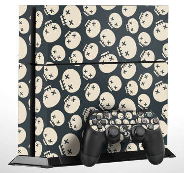Personalise your PS4 with this awesome skull pattern showing multiple cartoon skulls arranged in a cool pattern. Give a personal look to your PlayStation console and controller with these PS4 stickers, from our collection of Halloween stickers.