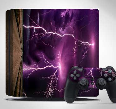 Sticker PS4 éclairs tempête