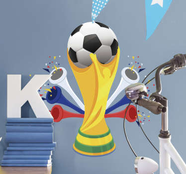Vibrant football wall sticker of the FIFA World Cup holding a ball with white, blue and red vuvuzelas either side of it.