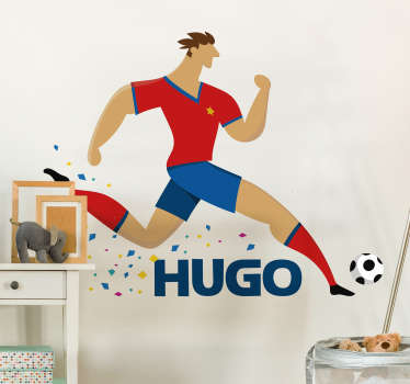 Personalise your bedroom wall a footballer thanks to this fantastic customisable sports wall sticker! Sign up for 10% off.
