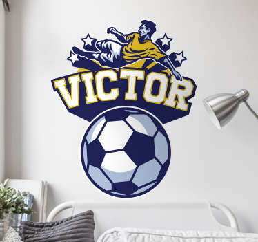 Personlig barn soverom fotball wallsticker