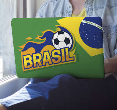 "Brazil football laptop sticker showing a flaming football and the word ""Brasil"" in front of the Brazilian flag. This vibrant flag laptop skin is perfect for making your laptop stand out, protecting it and showing your love for football."