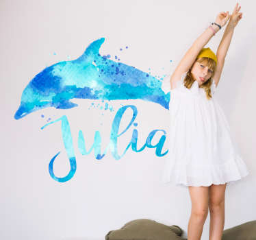 Sticker personnalisable dauphin eau