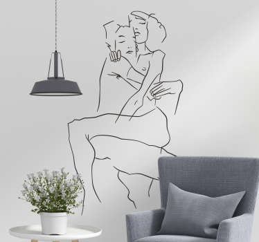 Decorate your walls in an artistic way with this line sticker showing a couple in the hug of love. This drawing decal is available in over 50 colours!
