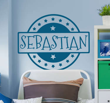 Decorate the kids room with this wall sticker of a stamp that you can personalize with a name of your choice. Color and size adjustable.