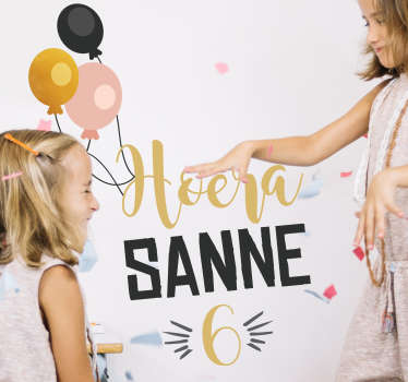 Customizable birthday party wall decal for children. It has the design of balloons and party details. Available in different sizes.