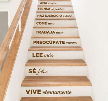 Vinilos para decoración de escalones con una serie de frases positivas, un decálogo de normas para seguir en tu hogar.