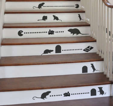 Mice Silhouette Stair Stickers